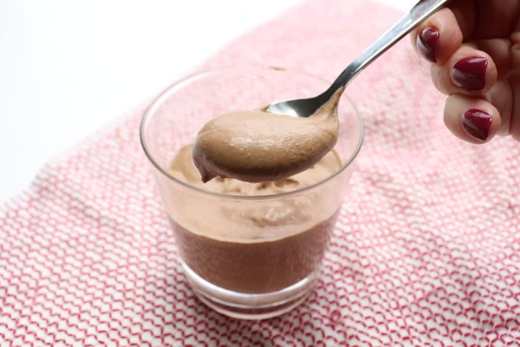 The Best Wendy's Junior Chocolate Frosty Recipe (Keto) on a spoon