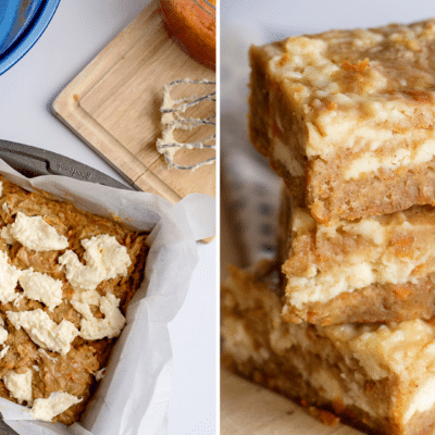 carrot cake blondies recipe side by side featured images
