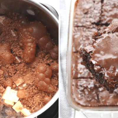coca cola cake recipe in process and final featured image