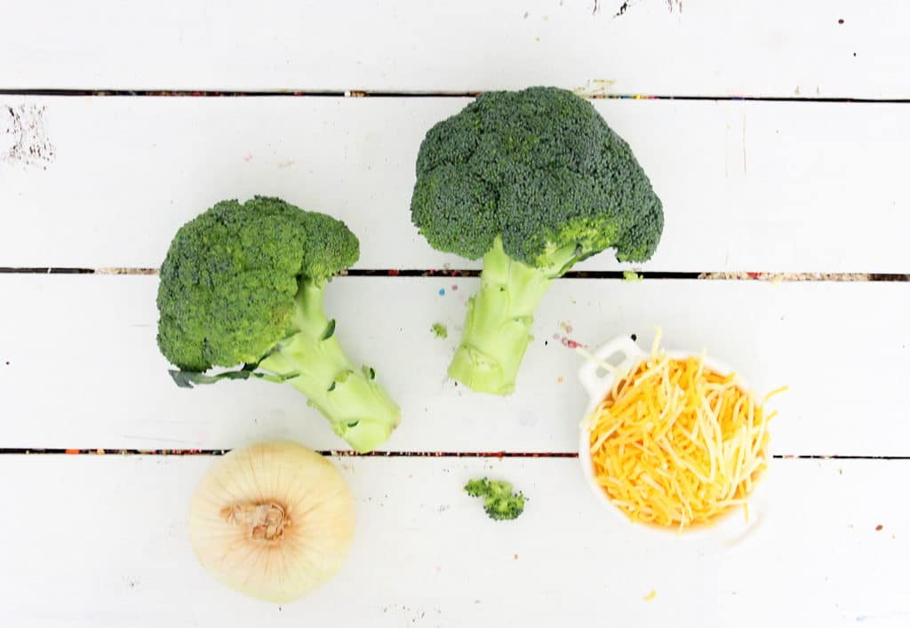 ingredients for broccoli cheddar soup
