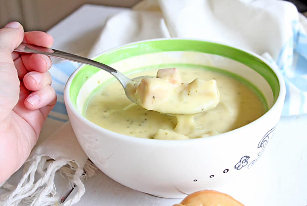 Broccoli Cheddar Soup on a spoon