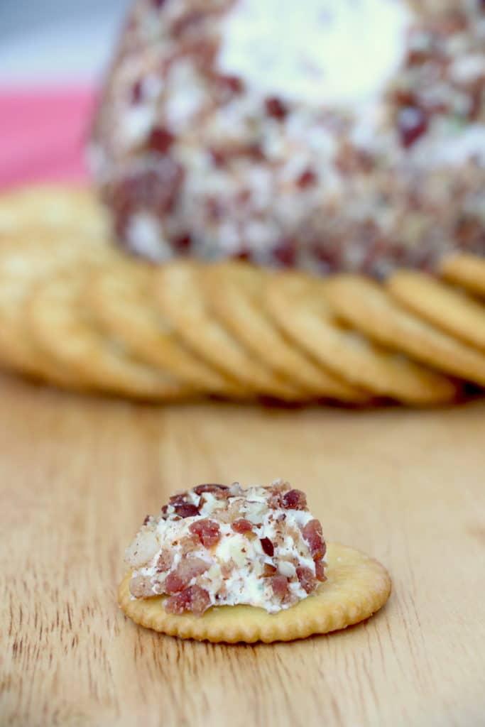 Bacon Cheese Ball with Bleu Cheese on a cracker