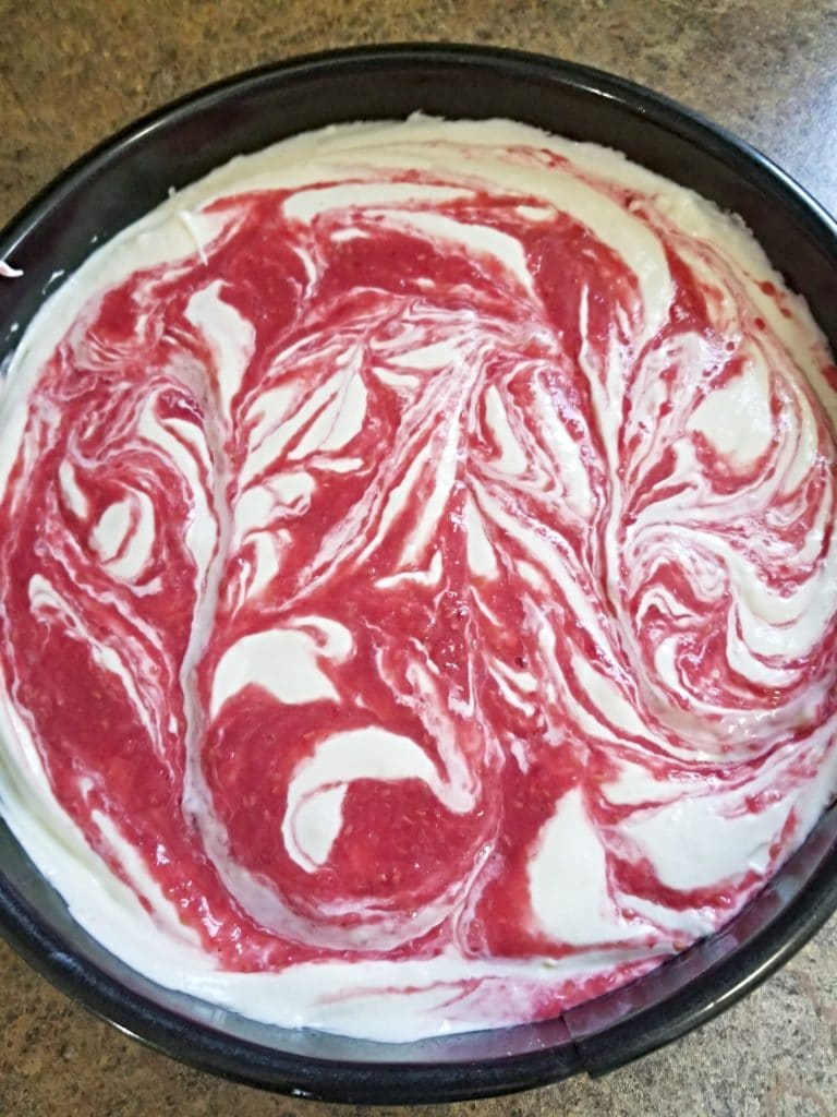 Baked Raspberry Cheesecake batter