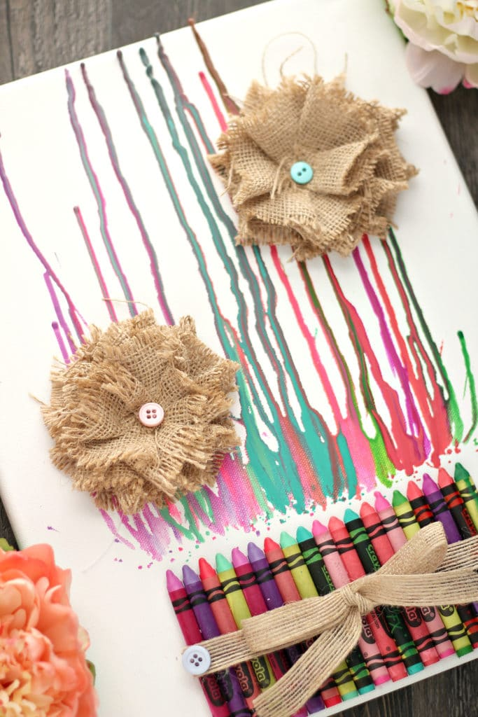 melted crayons with burlap flowers