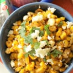 mexican corn salad close up featured image with cilantro