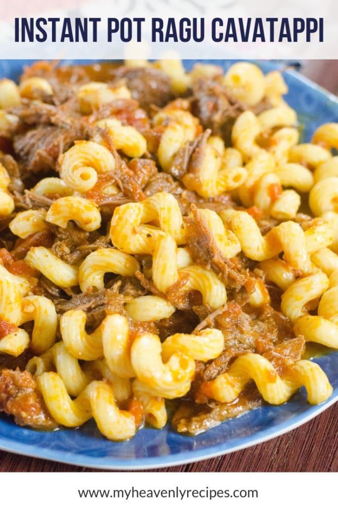Instant Pot Cavatappi noodles with beef ragu sauce