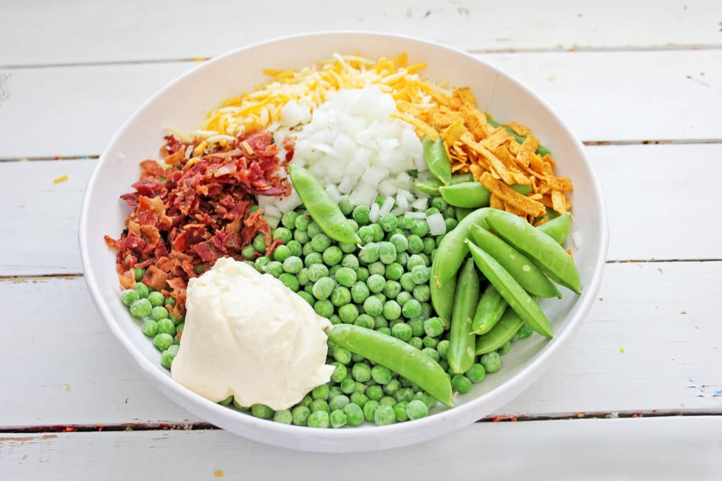 ingredients for pea salad with bacon