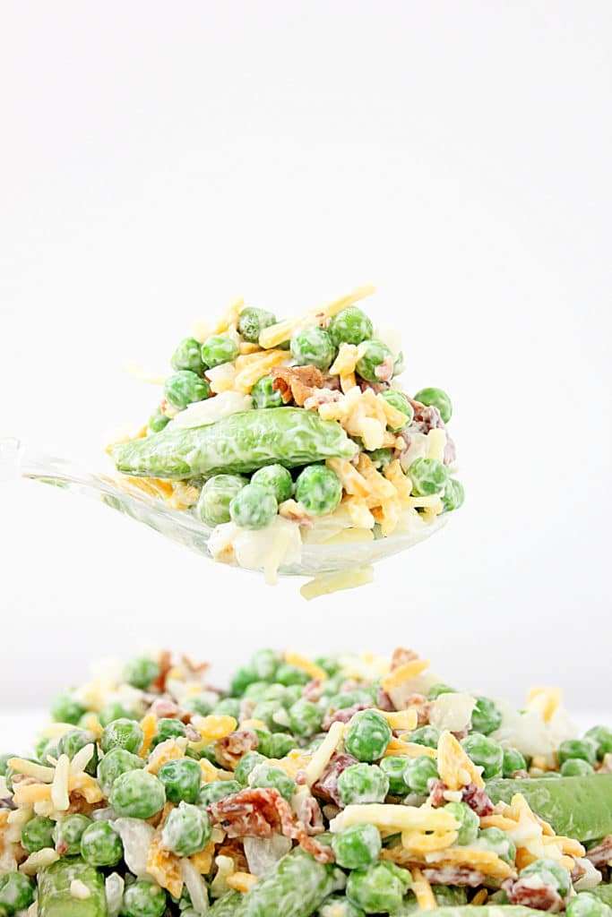pea salad on a spoon