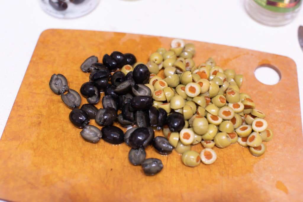 olives on a cutting board
