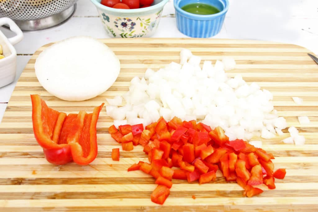 diced vegetables on a cutting board