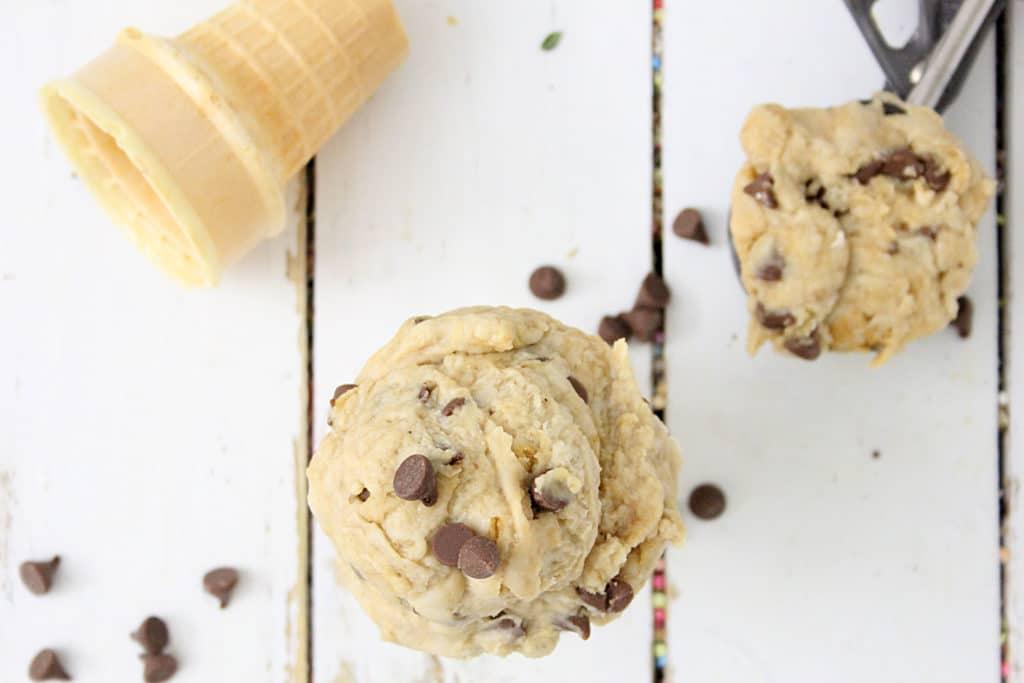 cookie dough in ice cream cones