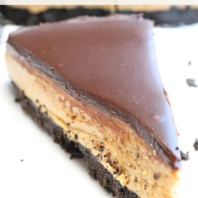 chocolate ganache on a no bake buckeye peanut butter pie