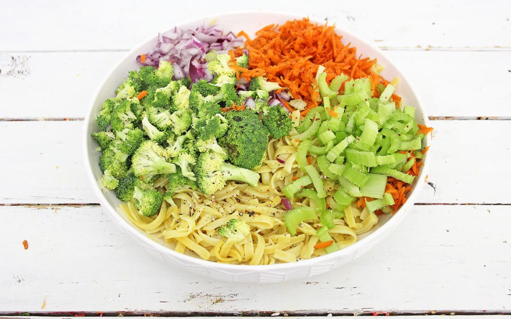 Apple Broccoli Pasta Salad ingredients before mixing