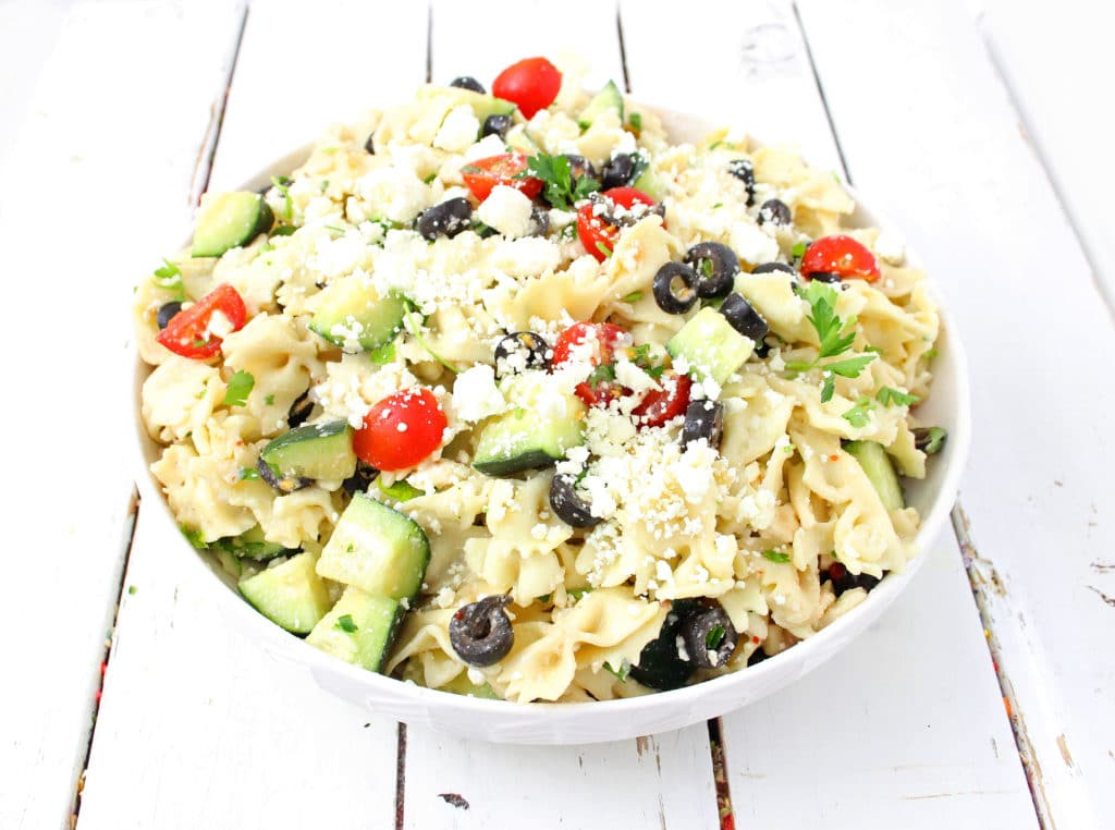 Tomato Cucumber Greek Pasta Salad