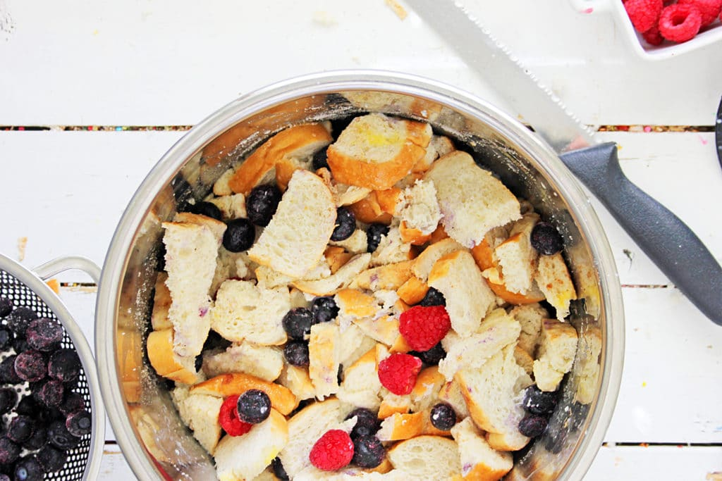 instant pot filled with bread and berries