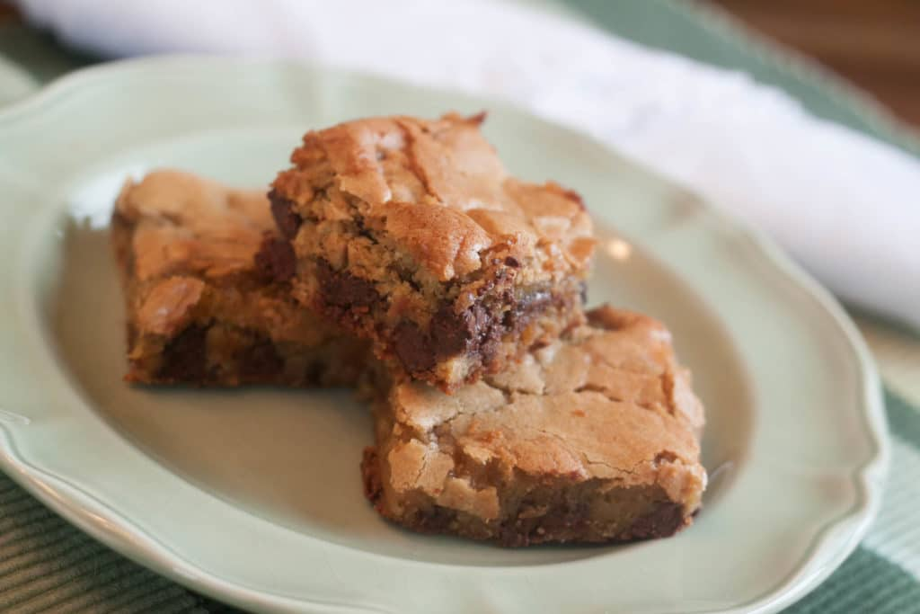 Brown Sugar Chocolate Chip Blondies on a plate