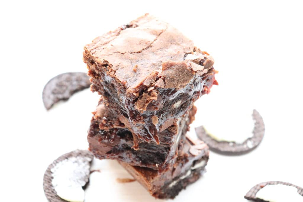oreo brownies in a stack