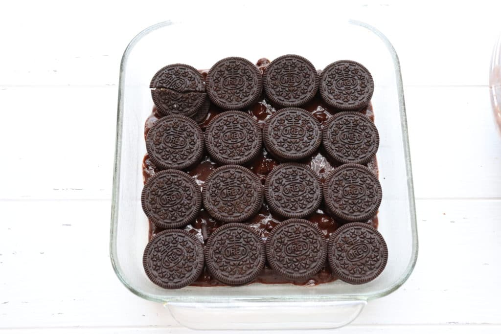 Oreos on the brownie batter