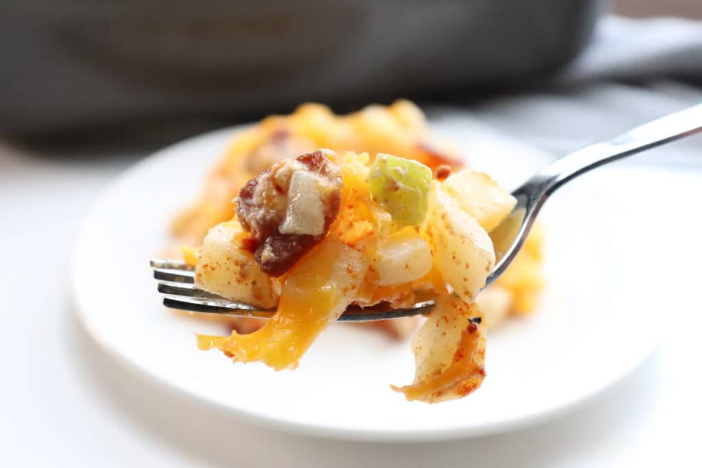 cheesy ranch potatoes on a fork
