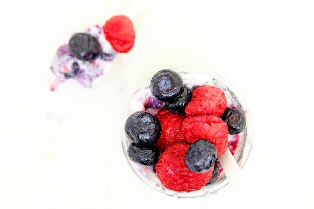 Overhead shot of Mixed Berry Chia Pudding Breakfast Recipe