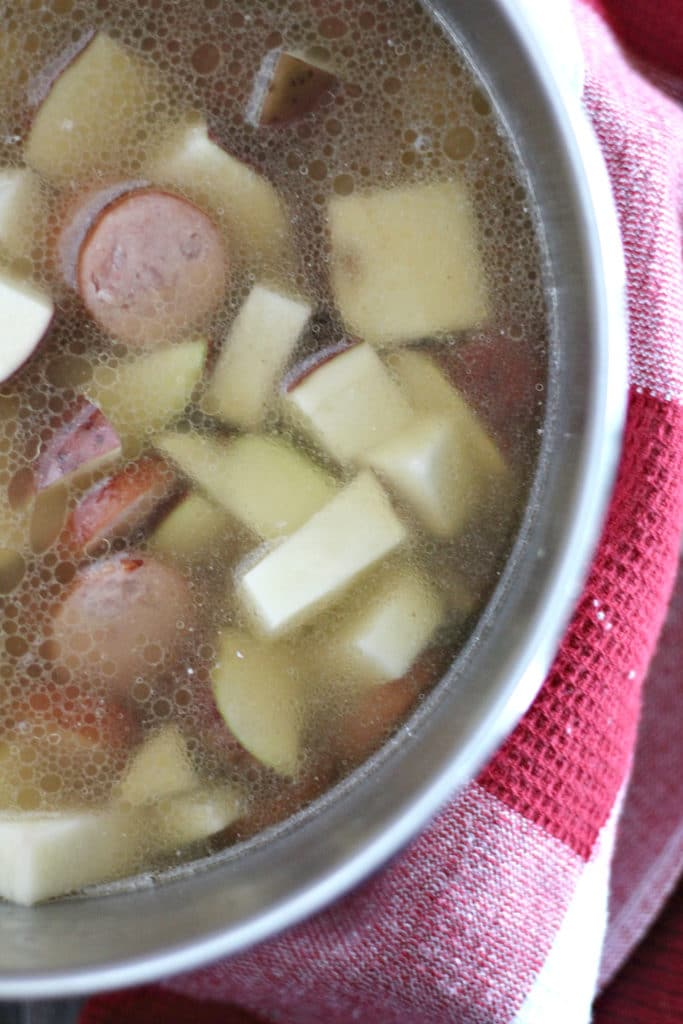 sausage and potatoes in broth