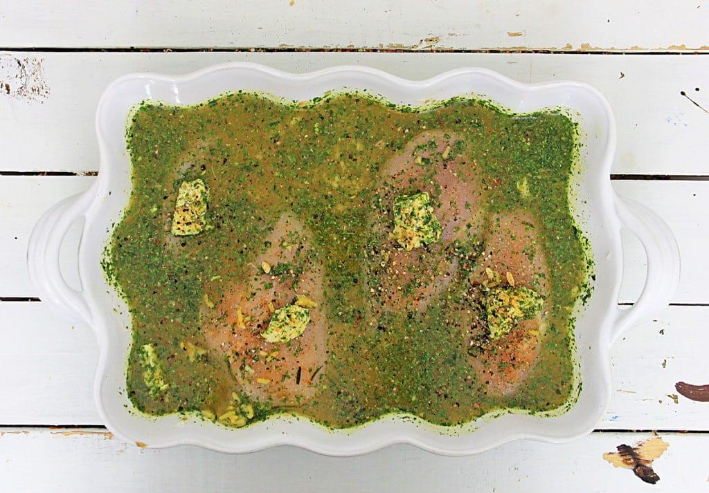 chicken in a casserole dish