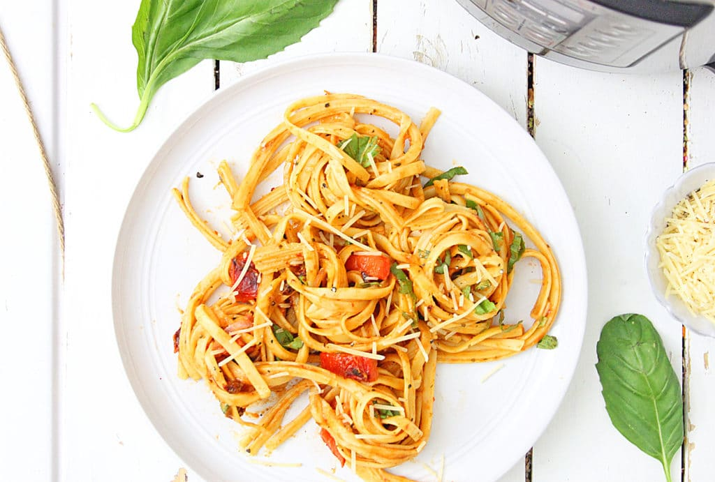 Roasted Red Pepper Pasta Instant Pot recipe on a white plate