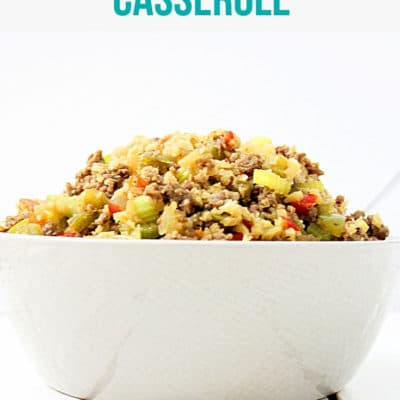 skillet dinner sausage casserole on spoon
