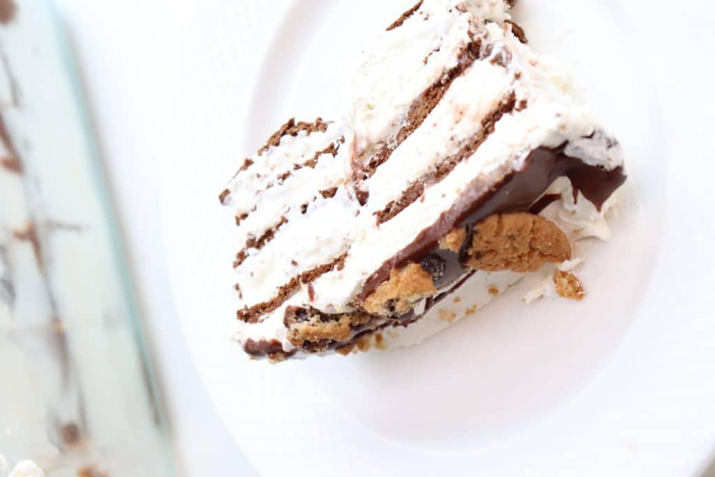 a piece of ice cream sandwich cake