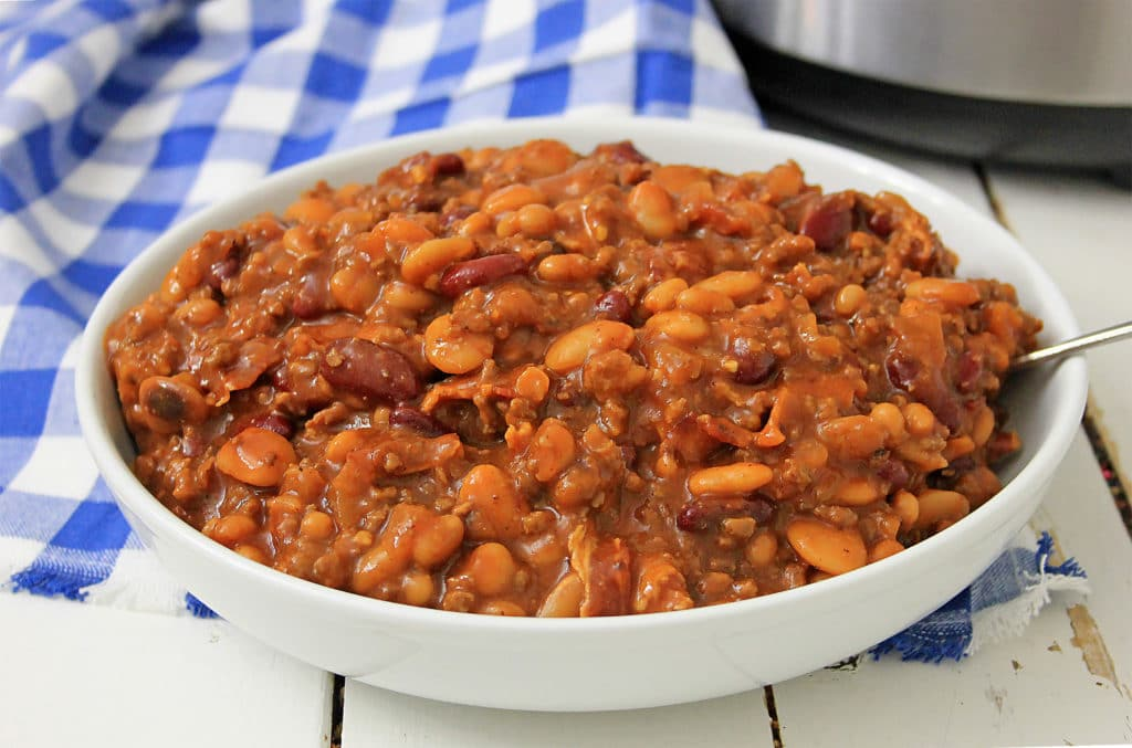 bowl of beans with hamburger