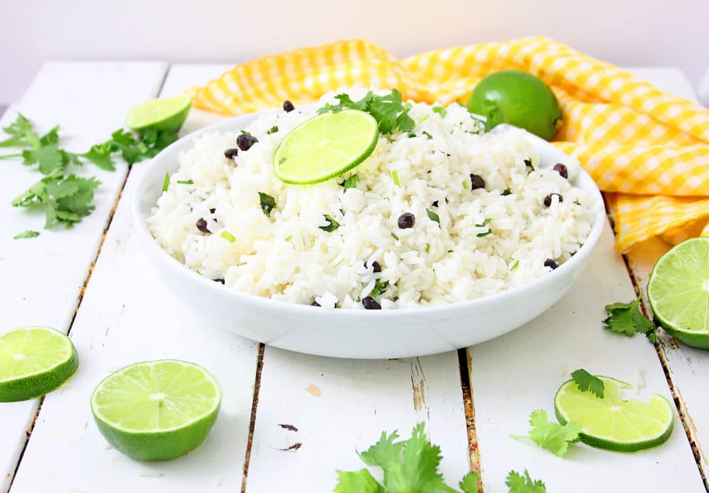 Instant Pot Lime Rice with Cilantro in a white bowl