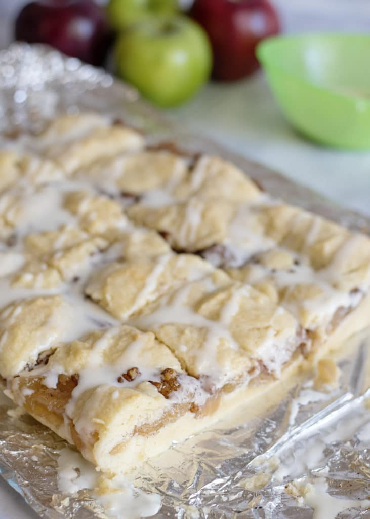 cut slice of apple pie pecan bars