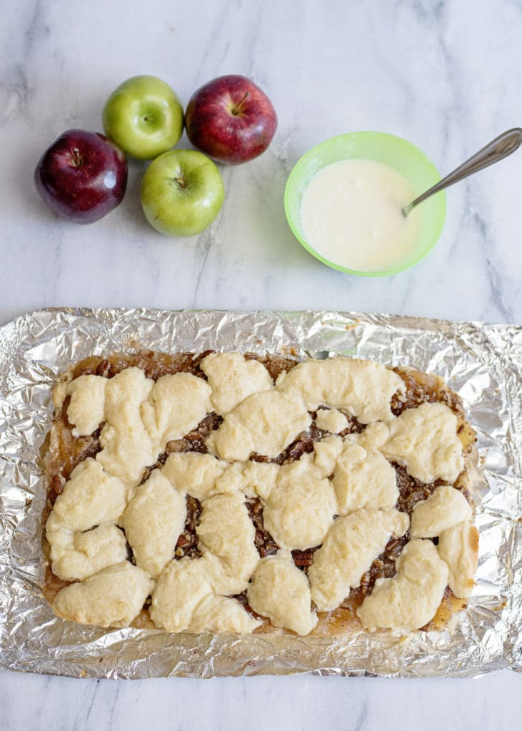 apple pie bars out of the oven