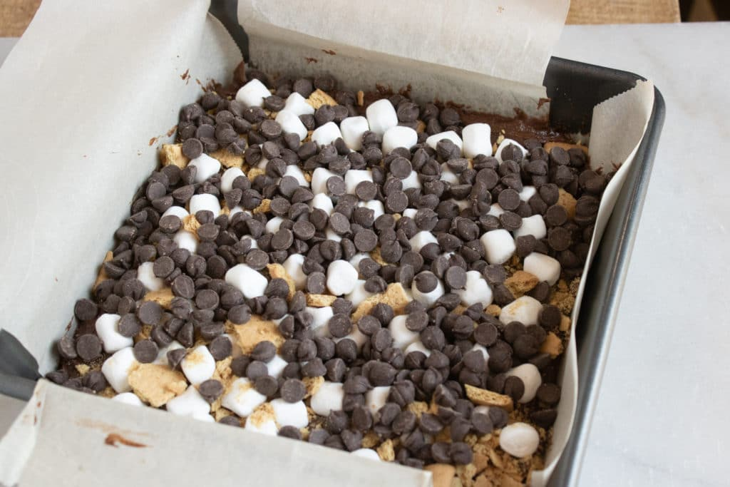 S'mores Brownies with chocolate chips and marshmallows