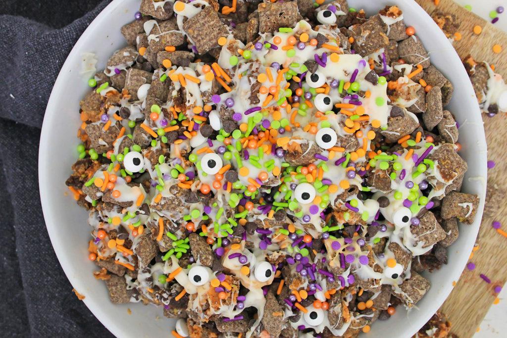 Halloween Muddy Buddies with Brownie Crumble