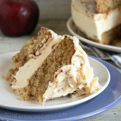 Maple Bacon Apple Cake with No-Bake Cheesecake Layer and Maple Bacon Frosting