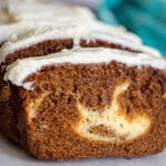 Gingerbread Loaf Swirled with Cream Cheese Filling