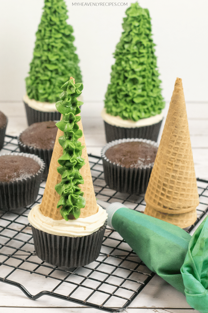 Ice Cream Cone Christmas Tree Cupcakes My Heavenly Recipes