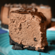 vertical image of instant pot chocolate cheesecake